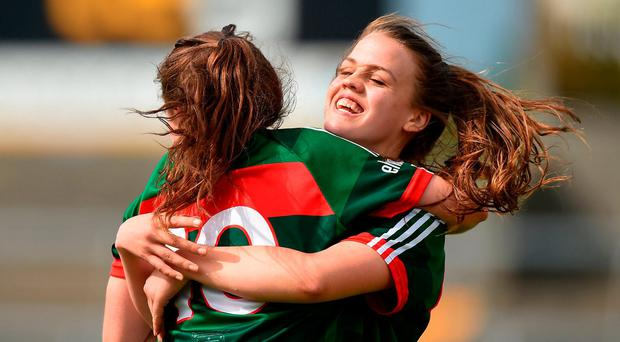 Doireann Hughes, left, and Amy Dowling of Mayo celebrate after the TG4 Ladies Football All-Ireland Senior Championship Quarter-Final match between Donegal and Mayo at Cusack Park in Westmeath. Photo by Matt Browne/Sportsfile