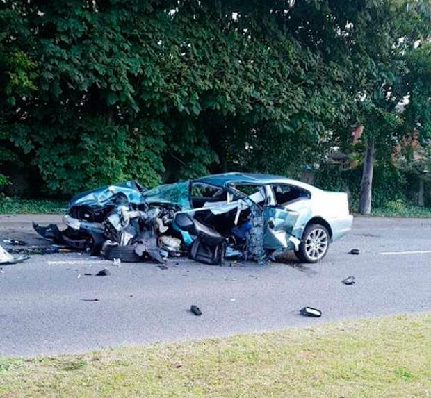 Three men were hospitalised after the crash