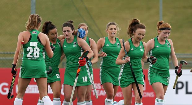 Roisin Upton of Ireland celebrates scoring their teams first goal with teammates during the pool A match between Japan and Ireland on day one of the FIH Hockey World League Semi-Final at Wits University on July 8, 2017 in Johannesburg, South Africa. (Photo by Jan Kruger/Getty Images for FIH)