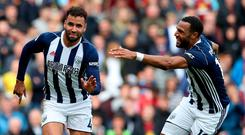 West Bromwich Albion's Hal Robson-Kanu celebrates scoring the winner