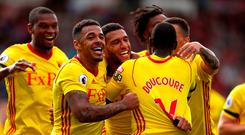 Watford's Etienne Capoue celebrates scoring his side's second goal