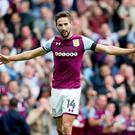 Conor Hourihane of Aston Villa scores his third for Aston Villa during the Sky Bet Championship match between Aston Villa and Norwich City at Villa Park on August 19, 2017 in Birmingham, England. (Photo by Neville Williams/Aston Villa FC via Getty Images)