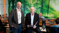 Colm Daly, CEO HomeSecure.ie with Sean Gallagher at their headquarters in Rathfarnham. Photo: Tony Gavin