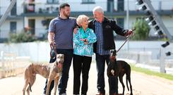 At the launch of the start of the BoyleSports Irish Greyhound Derby 2017 at Shelbourne Park were three generations of the Byrne family — Imelda Byrne (84), son Michael (right) and grandson Phillip with their two greyhounds Eva and Catunda Alonso