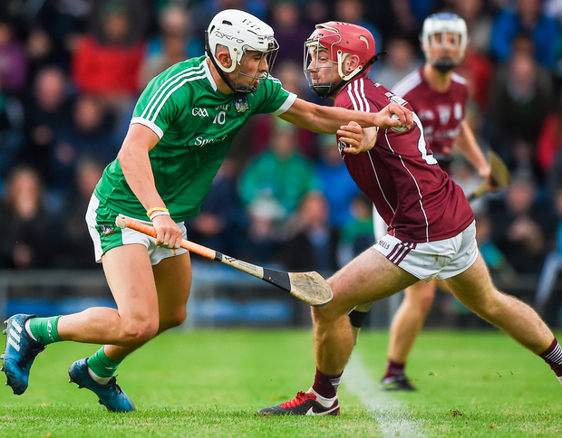 Limerick's Aaron Gillane in action against Galway's Declan Cronin during the All-Ireland U21 Championship Semi-Final. Photo: Daire Brennan/Sportsfile