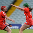 Hannah Looney, right, and Niamh McCarthy of Cork celebrate at the final whistle after the All-Ireland Senior Camogie Championship Semi-Final between Cork and Galway at the Gaelic Grounds in Limerick. Photo by Diarmuid Greene/Sportsfile