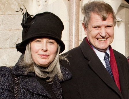 WELL RESPECTED: Then INM chairman James Osborne with partner Patricia Devine at the funeral of 'Sunday Independent' editor Aengus Fanning in 2012. Photo: David Conachy