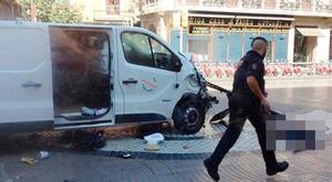 CARNAGE: The van used in last week's attack in Barcelona