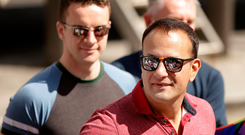 AN OCEAN APART: Taoiseach Leo Varadkar pictured with partner Dr Matt Barrett (left) at the Pride event in Dublin City centre. The pair are living apart while Dr Barrett undertakes a fellowship in Chicago for a year. Photo: Gerry Mooney