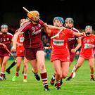 Sarah Dervan of Galway in action against Orla Cronin of Cork Photo: Sportsfile