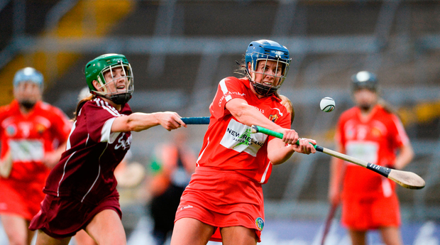 Eimear O'Sullivan of Cork in action against Ann Marie Starr of Galway Photo: Sportsfile