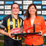 Kilkenny's Ann Dalton receives the player of the match from Deirdre Ashe of Liberty Insurance