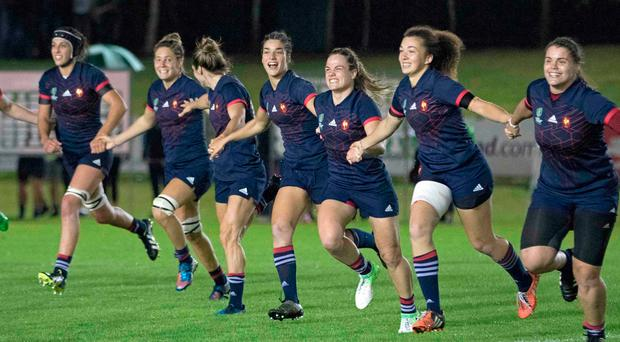 France players celebrate their win on the pitch after the Women's Rugby World Cup 2017 pool C rugby match between France and Ireland on August 17, 2017. Photo: AFP/Getty