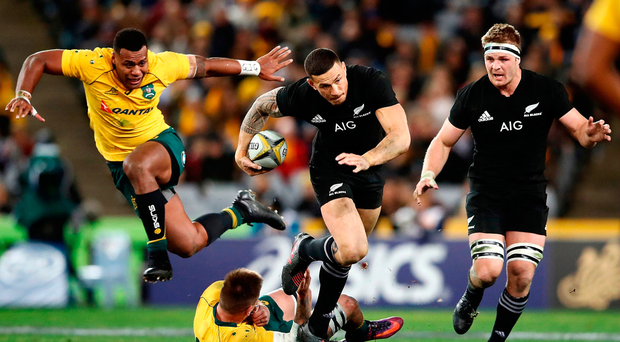 Sonny Bill Williams of the All Blacks makes a break during The Rugby Championship Bledisloe Cup match between the Australian Wallabies and the New Zealand All Blacks yesterday. Photo: Getty