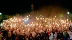 CHILLING: An image taken from a video provided by Vice News Tonight shows a white nationalist rally in Charlottesville, Virginia Photo: AP/Vice News