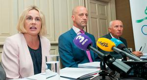 (L to r) OCI Board Members (President) Sarah Keane, Lochlann Walsh and Billy Kennedy during a Olympic Council of Ireland (OCI) media Briefing on the Moran Report into the 2016 Rio Olympic Games. Photo: Gareth Chaney Collins