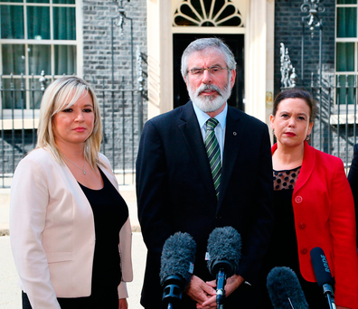 Sinn F�in�s Michelle O�Neill, Gerry Adams and Mary Lou McDonald. Photo: PA