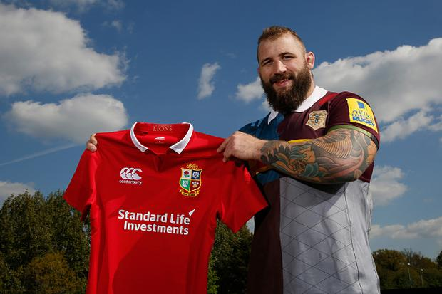 Joe Marler of Harlequins poses for a photograph after being announced in the 2017 British and Irish Lions tour to New Zealand squad after a Harlequins Training Session at Surrey Sports Park on April 19, 2017 in Guildford, England. (Photo by Steve Bardens/Getty Images)