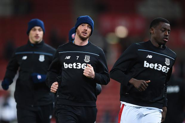 Stephen Ireland of Stoke City of Stoke City during the warm up prior to the Barclays Premier League match between Stoke City and Newcastle United at the Britannia Stadium on March 2, 2016 in Stoke on Trent, England. (Photo by Michael Regan/Getty Images)