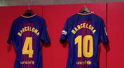 Barcelona's shirt will bare the name of the city CREDIT: BARCELONA TWITTER