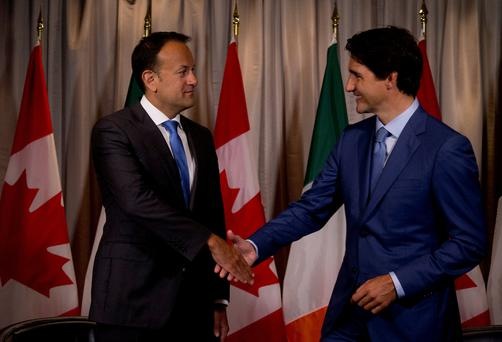 Canada's Prime Minister Justin Trudeau (R) shakes hands with his Irish counterpart Taoiseach Leo Varadkar prior to a bilateral meeting in Montreal, Quebec Canada August 20, 2017. REUTERS/Christinne Muschi