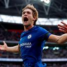 Chelsea's Marcos Alonso celebrates scoring their second goal