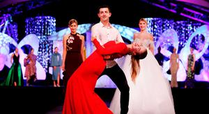 'Dancing With The Stars' winner Aidan O'Mahony practices with Siobhan Clifford for the Rose of Tralee Fashion Show at The Dome. Photo: Steve Humphreys