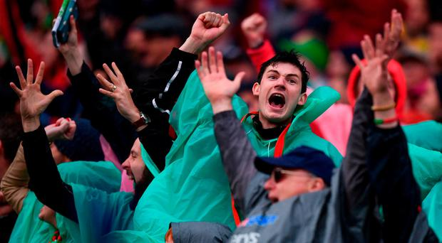 Mayo supporters celebrate a late point. Photo: Stephen McCarthy/Sportsfile