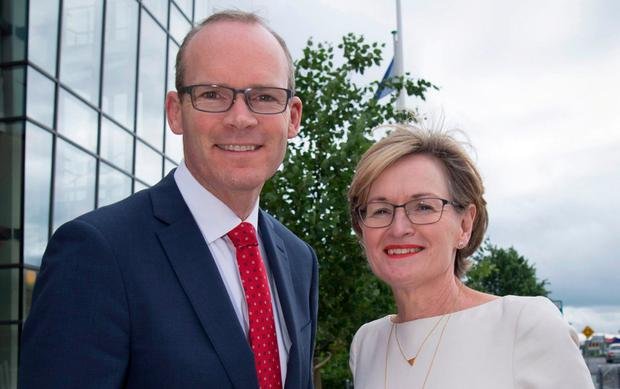 European Parliament vice president Mairead McGuinness pictured with Simon Coveney. Photo: Fergal Phillips