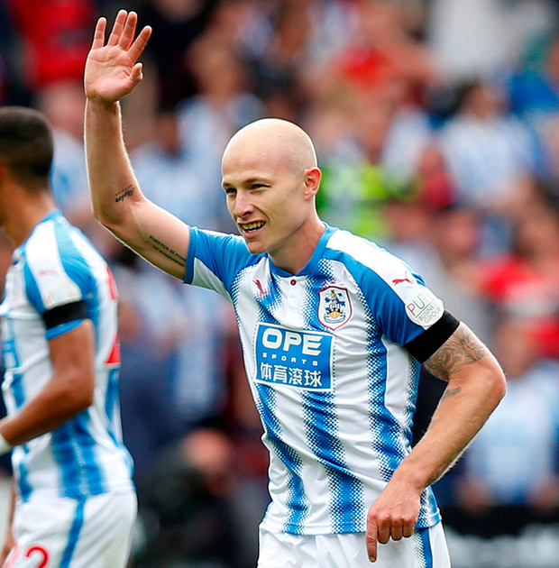 Huddersfield's Aaron Mooy celebrates his goal