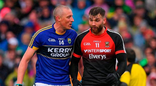 Kieran Donaghy of Kerry in conversation with Aidan O'Shea of Mayo during the GAA Football All-Ireland Senior Championship Semi-Final match between Kerry and Mayo at Croke Park in Dublin. Photo by Ray McManus/Sportsfile