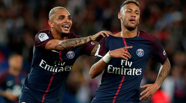 Paris Saint-Germain's Neymar celebrates