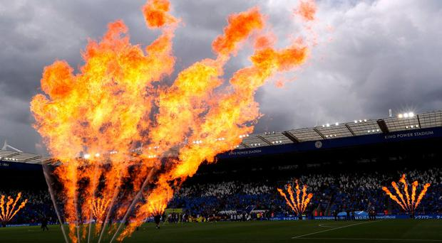General view of players walking out on to the pitch before the match at the King Power on Saturday