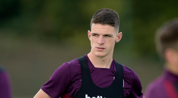 Declan Rice of West Ham United during Training at Rush Green on August 17, 2017 in Romford, England. (Photo by Arfa Griffiths/West Ham United via Getty Images)