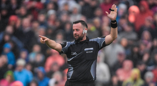 9 July 2017; Referee David Gough during the Connacht GAA Football Senior Championship Final match between Galway and Roscommon at Pearse Stadium in Galway. Photo by Ramsey Cardy/Sportsfile