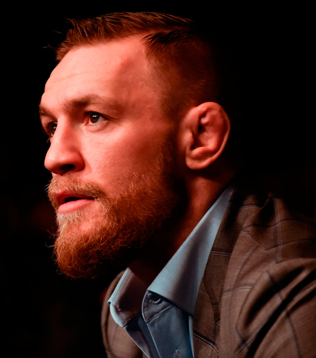 UFC Lightweight and Featherweight champion Conor McGregor at UFC Fight Night 99 in the SSE Arena, Belfast. He fights Floyd Mayweather this weekend. Photo: Sportsfile