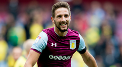 Conor Hourihane of Aston Villa scores his second for Aston Villa during the Sky Bet Championship match between Aston Villa and Norwich City at Villa Park. Photo: Getty Images