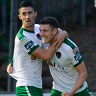 Garry Buckley, right, of Cork City celebrates with team-mate Shane Griffin after scoring his side's first goal during the SSE Airtricity League Premier Division match between Finn Harps and Cork City at Finn Park in Ballybofey, Donegal. Photo: Sportsfile