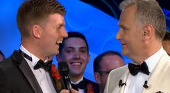 Daniel McLaughlin and Daithi O Se on stage at the Rose of Tralee