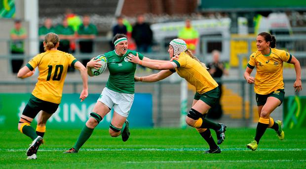 Paula Fitzpatrick of Ireland is tackled by Chloe Butler of Australia during the 2017 Women's Rugby World Cup 5th Place Semi-Final match between Ireland and Australia at Kingspan Stadium in Belfast. Photo by Oliver McVeigh/Sportsfile