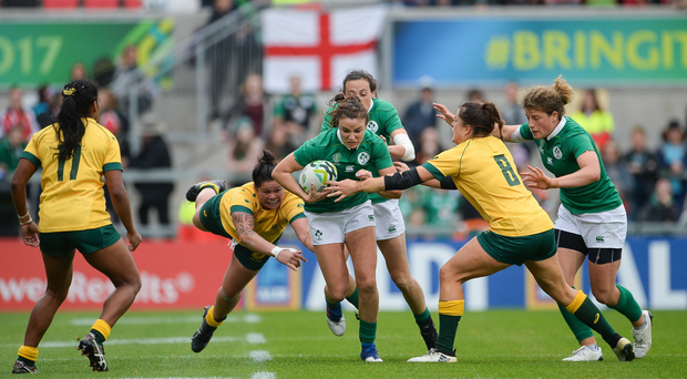 22 August 2017; Louise Galvin of Ireland is tackled by Grace Hamilton of Australia during the 2017 Women's Rugby World Cup 5th Place Semi-Final match between Ireland and Australia at Kingspan Stadium in Belfast. Photo by Oliver McVeigh/Sportsfile