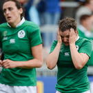 22 August 2017; A disappointed Anna Caplice of Ireland after the 2017 Women's Rugby World Cup 5th Place Semi-Final match between Ireland and Australia at Kingspan Stadium in Belfast. Photo by Oliver McVeigh/Sportsfile