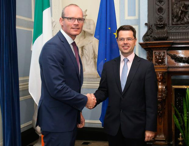 Foreign Affairs Minister Simon Coveney welcomes Northern Ireland Secretary James Brokenshire to a meeting at The Department of Foreign Affairs in Dublin for talks on the Brexit issue. PRESS ASSOCIATION Photo. Photo: Niall Carson/PA Wire