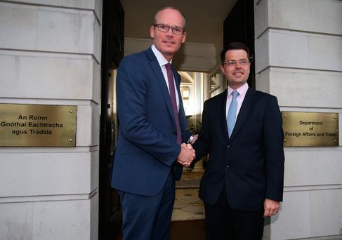 Foreign Affairs Minister Simon Coveney welcomes Northern Ireland Secretary James Brokenshire to a meeting at The Department of Foreign Affairs in Dublin for talks on the Brexit issue. Photo: Niall Carson/PA Wire