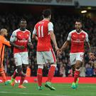 LONDON, ENGLAND - APRIL 05: (R) Theo Walcott celebrtes scoring the 2nd Arsenal goal with (L) Danny Welbeck and (2ndL) Mesut Ozil during the Premier League match between Arsenal and West Ham United at Emirates Stadium on April 5, 2017 in London, England. (Photo by Stuart MacFarlane/Arsenal FC via Getty Images)