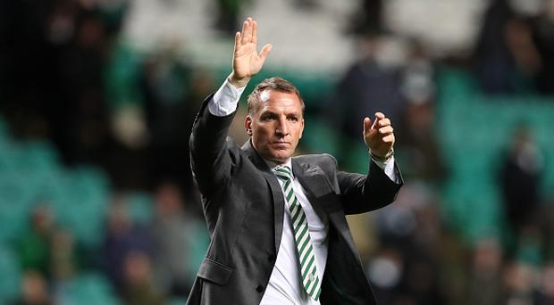 GLASGOW, SCOTLAND - AUGUST 16: Celtic manager Brendan Rodgers celebrates at full time during the UEFA Champions League Qualifying Play-Offs Round First Leg match between Celtic FC and FK Astana at Celtic Park on August 16, 2017 in Glasgow, United Kingdom. (Photo by Ian MacNicol/Getty Images)
