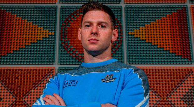 Philly McMahon at the Gibson Hotel for the Dublin football press conference. Photo by Sam Barnes/Sportsfile