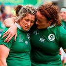 A disappointed Alison Miller, left, and Ailis Egan of Ireland. Photo: Oliver McVeigh/Sportsfile