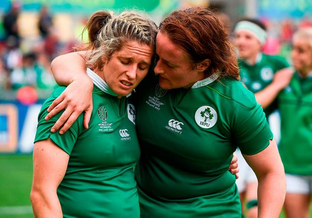 A disappointed Alison Miller, left, and Ailis Egan at the final whistle. Photo: Oliver McVeigh/Sportsfile