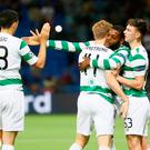 Celtic's Olivier Ntcham celebrates scoring their second goal with teammates. Photo: REUTERS/Shamil Zhumatov